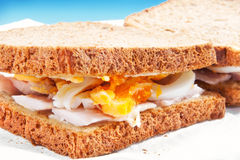 Two tasty egg sandwiches Stock Images