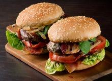 Two Tasty Hamburgers Royalty Free Stock Photos