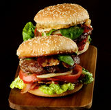 Two Tasty Hamburgers Stock Images