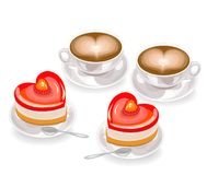 Two tasty heart shaped cakes and two cups of coffee with foam in the shape of a heart. Valentine s day for lovers. Vector vector illustration