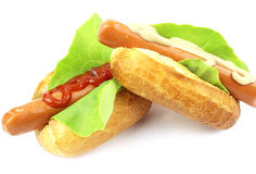 Two tasty hot dog Royalty Free Stock Images