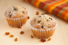 Two muffins with raisins on wooden table with brown napkin Royalty Free Stock Images