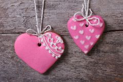 Two tasty pink heart with ornament Royalty Free Stock Photo