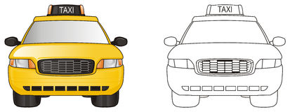 Two taxi cars. Colored taxi with coloring taxi Stock Images