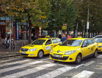 Two taxi drivers waiting for passengers in Prague Stock Photography