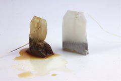 Two tea bags. Used and unused tea bags Royalty Free Stock Photography