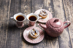 Two tea and buns Royalty Free Stock Images