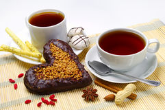 Two tea and cookies Stock Photo