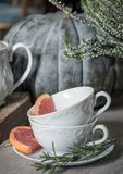 Two tea cups with rosemary and grapefruit on the background of a large pumpkin and heather. stock photo