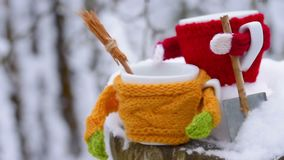Two tea cups under falling snow stock footage