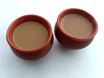 Two tea. On white paper royalty free stock photography