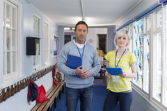 Two Teachers in the Corridor Royalty Free Stock Images