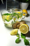 Two teacups with fresh peppermint, ginger and lemon Royalty Free Stock Photo