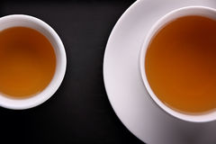 Two teacups overhead closeup Stock Photography