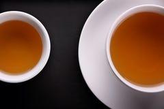 Two teacups overhead closeup Stock Photography