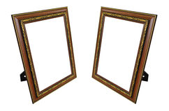 Two teak frames with gold patterns Stock Photo