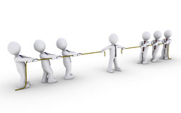 Two teams are claiming a client. Two different teams are pulling ropes to claim businessman in the middle Stock Image