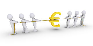 Two teams are claiming Euro. Two different teams are pulling ropes to claim Euro symbol Stock Photography