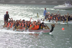 Two Teams in Dragon boat race Stock Images