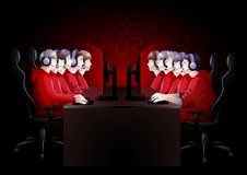 Cyber sport teams in red colors. Two teams of five players sitting at the table opposite each other. Side view. Vector participants of cyber sport tournament Royalty Free Stock Image