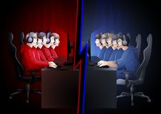 Cyber sport teams in red and blue colors. Two teams of five players sitting at the table opposite each other. Side view. Vector participants of cyber sport Stock Photo