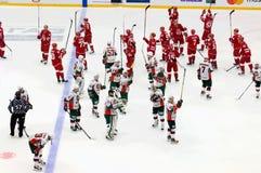 Two teams thanks to spectators Stock Photos