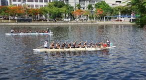 Two Teams Train for the Dragon Boat Races Stock Photos