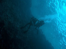 Two techno divers under the are ocean surface. Two technodivers drift under the ocean surface in Blue Hole, Dahab, Egypt royalty free stock images