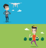 Two technology banners with space for text. Vector flat design. Horizontal layout. Caucasian man flying drone with remote control. Man operating a drone with Royalty Free Stock Photos