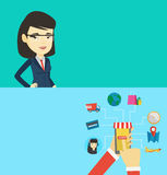 Two technology banners with space for text. Vector flat design. Horizontal layout. Young asian businesswoman using wearable computer. Woman wearing wearable Royalty Free Stock Image