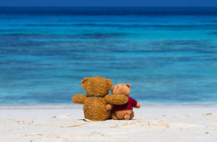 Two TEDDY BEAR brown color sitting on the beautiful beach with b Stock Images
