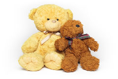 Two teddy-bear friends. Two teddy bears, bigger and smaller, are sitting close to each other like they are best friends royalty free stock images