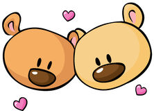 Two teddy bear head - vector illustration isolated Royalty Free Stock Photo