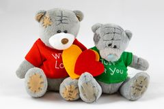 Two teddy Bear with Heart stock images