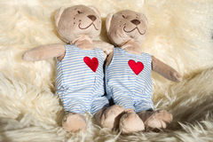 Two teddy Bear with Heart Stock Image