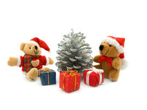 Two Teddy Bear, Pine And Three Colour Gift Boxes Royalty Free Stock Photos