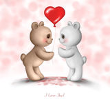 Two Teddy bears. In love Royalty Free Stock Images
