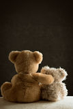 Two Teddy Bears. Sitting side by side on couch Royalty Free Stock Photos