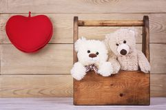 Two teddy bears in the box with heart stock image