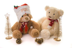 Two teddy bears in a christmas scene Stock Photography