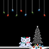 Two teddy bears and christmas tree Royalty Free Stock Photos