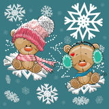 Two Teddy Bears. Are flying on the snowflakes royalty free illustration