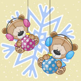 Two Teddy Bears in a fur headphones Royalty Free Stock Photo