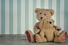 Two teddy bears hugging Stock Photo