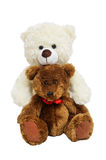 Two Teddy Bears Hugging On White Isolated Backgrou Stock Images
