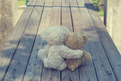 Two teddy bears hugging picnic. In the park sit on wooden. vintage style Stock Image