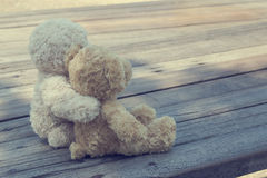 Two teddy bears hugging picnic. In the park sit on wooden. vintage style Stock Photography