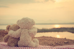 Two teddy bears hugging. picnic sit on the fabric red and white looking sunrise. Royalty Free Stock Photography