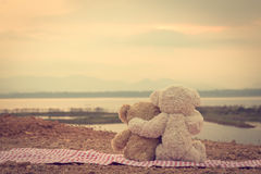 Two teddy bears hugging. picnic sit on the fabric red and white looking sunrise. Stock Photos