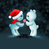 Two teddy bears in love. Christmas card with two teddy bears in love Stock Image